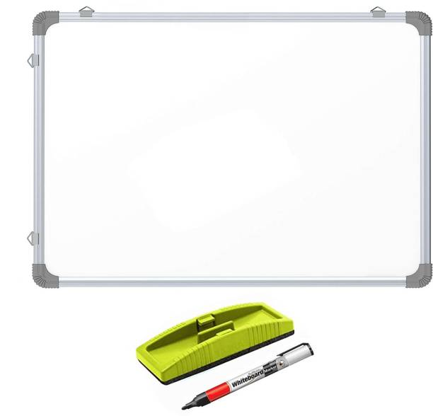 Mahit Systems Non Magnetic Non-Magnetic Melamine 2 X 2 feet Glossy White Board, One Side White Board Marker and Reverse Side Green Chalk Board Surface With One Non-Magnetic Plastic Duster and One Marker Whiteboards