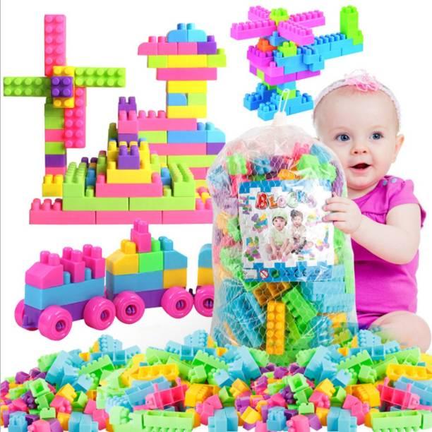 PRESENTSALE 200 pcs Multi Colour Building Bricks and Blocks for Kids, Building Blocks for Kids with Wheel, Best Gift Toy