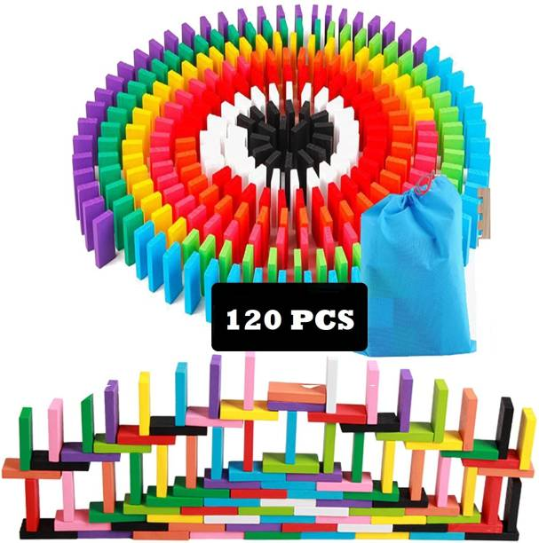 Authfort 120 pcs 12 Color Wooden Domeenos Blocks Set, Kids Game Educational Play Toy