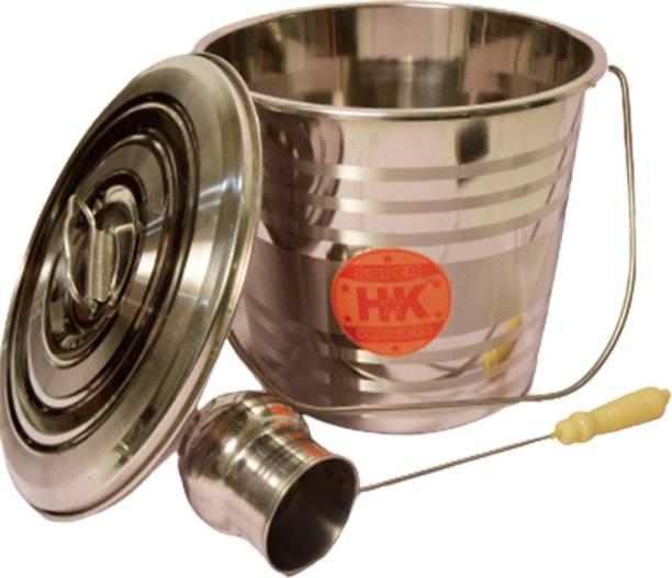 Super HK Stainless Steel Jointless Leak Proof Bucket with LID & Water Dispenser Ladle 10 L Steel Bucket