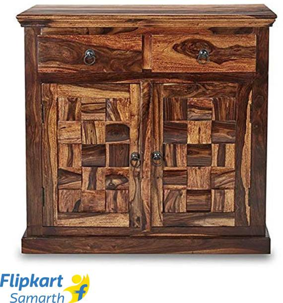 Divine Arts Sheesham Wood Storage Cabinet for Living Room, Walnut Finish Solid Wood Free Standing Cabinet