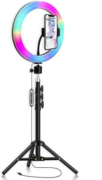Yiweto RGB 10 Inch Selfie Ring Light with 360 Degree Rotating 2.1 Tripod Stand With All Smartphones & Cameras For Short Video, Live Stream, Makeup, Online Lecture 2500 lx Camera LED Light