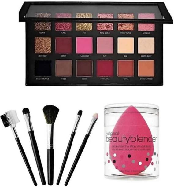 stalklady 1 RoseGold Eyeshadow with 5 Pcs of print brush with 1 blender puff
