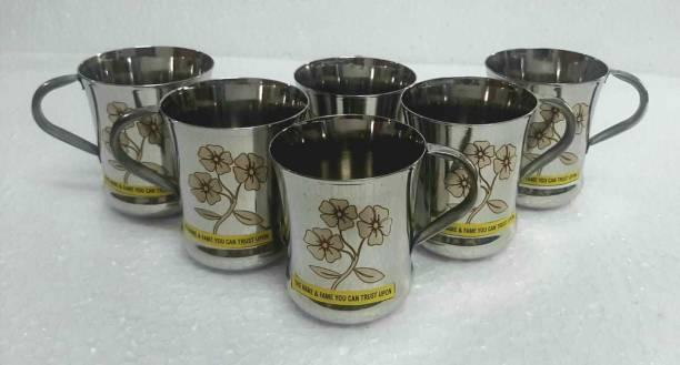 BHAI CHARA Pack of 6 Stainless Steel HEAVY GAUGE LASER PRINT TEA/COFFE/MILK CUP