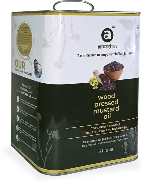 Anveshan Wood Pressed Black Mustard Oil - 5 Litre | Glass Bottle | Kolhu/ Kacchi Ghani/ Chekku | Natural | Chemical-Free Mustard Oil Tin