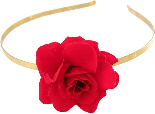 Maahal Rose Flower Crown Wedding Festival Headband Hair Garland Wedding Headpiece, Red Hair Band