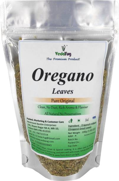 VY VedaYug Oregano Leaves | Pure Oregano Herb for Seasoning recipe for Pizza & Pasta - 100% Natural Leaf - 100g