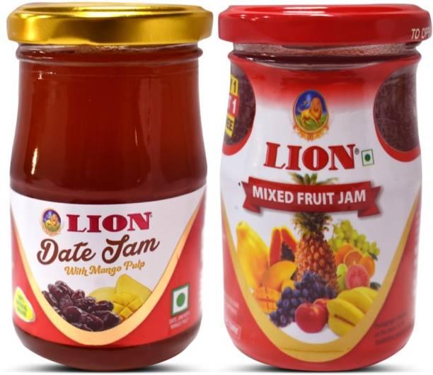 Lion Mixed Fruit Jam and Date Jam with Mango Pulp 500 g