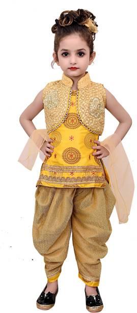 doll fashion Baby Girls Festive & Party, Wedding Patiala and Dupatta Set