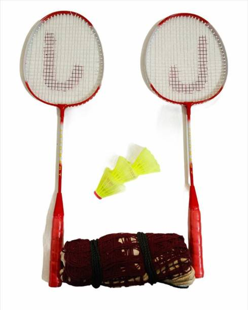 JOJOMART TOKYO 2020 Badminton Set Of 2 Piece Racquet with 3 Piece Plastic Shuttle Single Shaft and 1 Badminton Net (RED) Badminton Kit