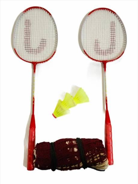 JOJOMART Badminton Set Of 2 Piece Racquet with 3 Piece Plastic Shuttle Single Shaft and 1 Badminton Net (RED) Badminton Kit