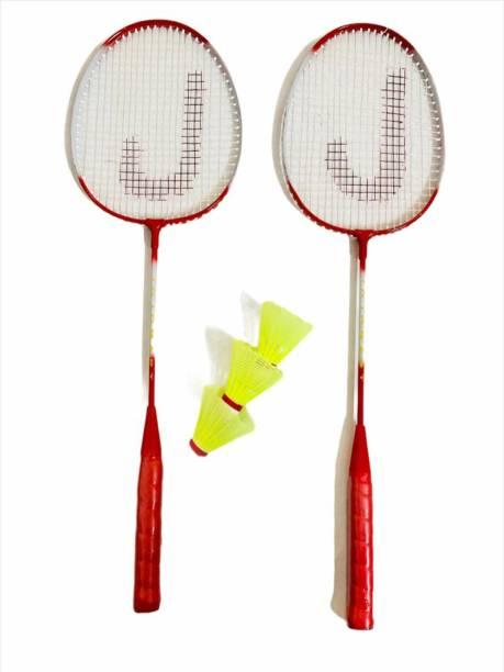 JOJOMART Badminton Set Of 2 Piece Racquet with 3 Piece Plastic Shuttle Single Shaft (RED) Badminton Kit