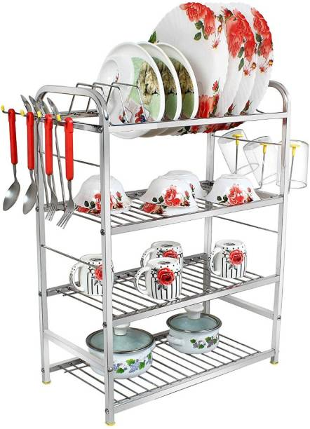 UNIFY Stainless Steel 4 Shelf Wall Mount Kitchen Racks | Dish Rack with Cutlery and Plate Kitchen Stand | Modular Kitchen Bartan Stand | Kitchen Organizer Items (18x24 inches) Plate Kitchen Rack