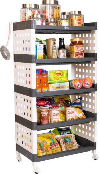 TNT Lexi 5 Tier (Grey) Multi-Purpose Storage Organizer Rack for Home, Bathroom, Living Room, Office, Bedroom with Wheels Plastic Kitchen Trolley