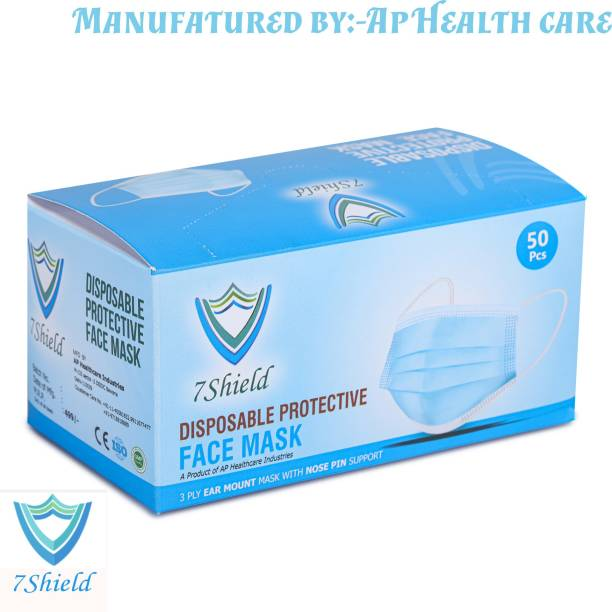 7SHIELD 7SHIELD CE and ISO Certified 3 Ply Surgical Face Mask with Nose clip and soft ear loops Mfg:- by Ap Health Care SURGICAL-3PLY Water Resistant Surgical Mask