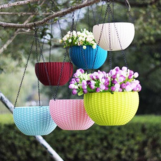 """AGAMI 6"""" Woven Design Hanging Euro Basket For Indoor and Outdoor with Chain Plant Container Set"""