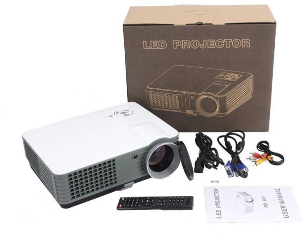 IBS 2200 Lumens Mini LED RD-801 Smart Lcd Video Home Theater 1080P Movie USB*2 HDMI*2 Player 50000/60000 Hours Life 5 Inch Displays Screen Black (2200 lm / 2 Speaker / Remote Controller) Portable Projector