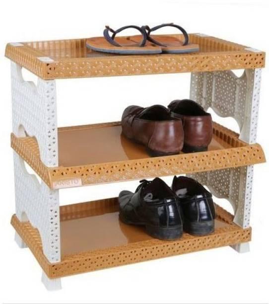 Nabhya Foldable Designer Plastic Shoe Rack - 3 Layers Plastic Plastic Shoe Stand