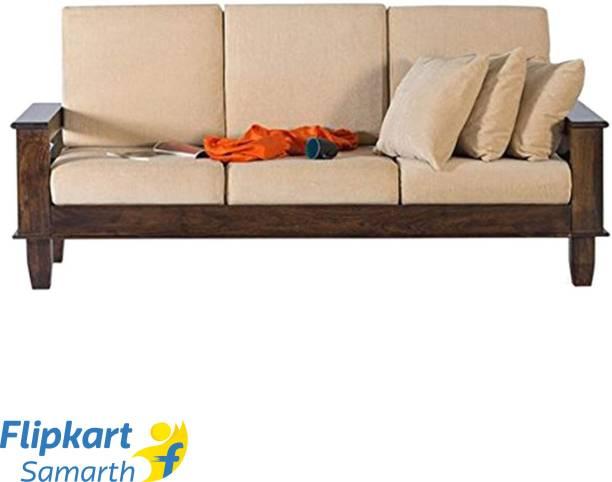 Divine Arts Woodeiving (Sheesham)Seater Sofa Set for Living Room Fabric 3 Seater  Sofa