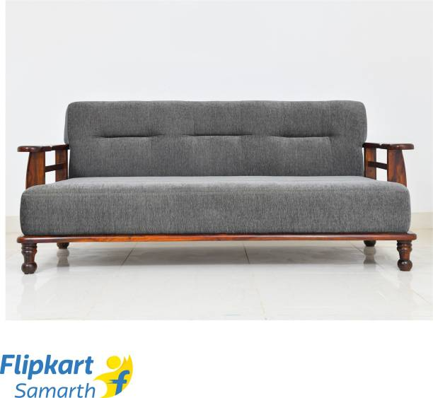 Divine Arts Wooden (Sheesham)Sofa for Home and Living Room Fabric 3 Seater  Sofa