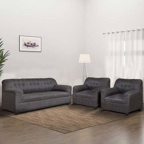 furniture crew Fabric 3 + 1 + 1 GREY Sofa Set