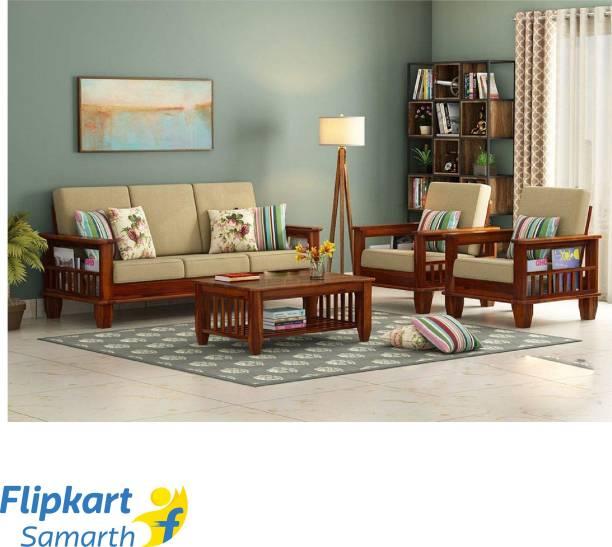 Divine Arts Fabric 3 + 1 + 1 Honey Finish Sofa Set