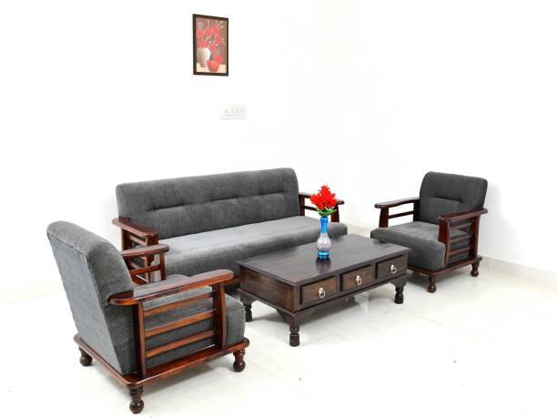 Divine Arts Wooden (Sheesham)Sofa Set for Living Room Fabric 3 + 1 + 1 Honey Finish Sofa Set