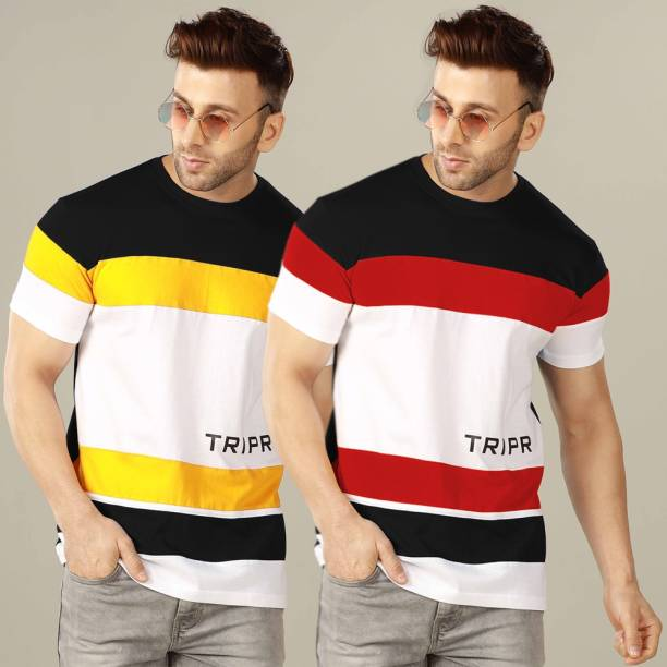 TRIPR Color Block Men Round Neck Multicolor T-Shirt