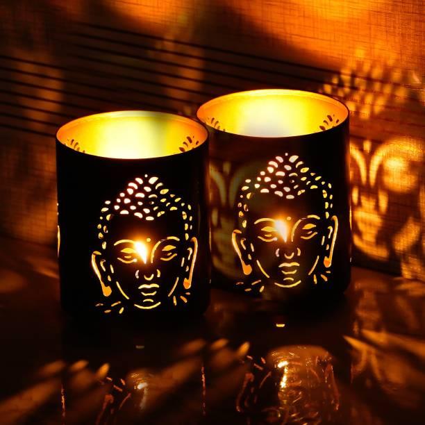 Brothers Creation Buddha Beautiful shadow tealight candle holder(set of 2) Aluminium 1 - Cup Tealight Holder