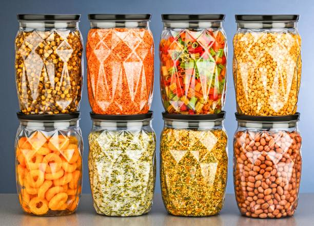 4 SACRED Crystal Airtight Kitchen Storage Containers / Plastic Container / Masala Box / Kitchen Containers / Plastic Box / Storage Box / Storage Containers For Kitchen Organizer, Tea, Coffee, Sugar, Food, Grain, Rice, Masala, Pasta, Pulses, Spices  - 1400 ml Plastic Grocery Container