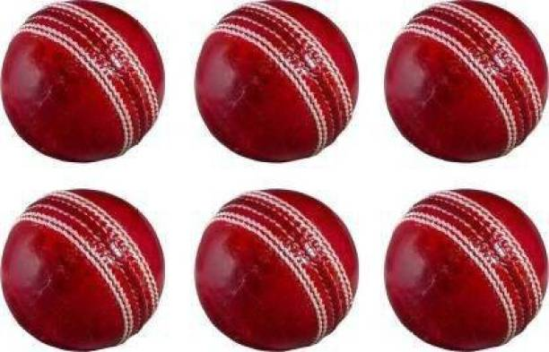 br diamond Red four piece genuine leather Cricket Leather BALL PACK OF 6 Standard Bail