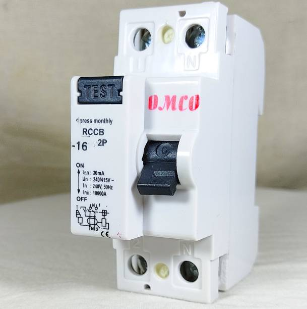OMCO RCCB Double Pole 16 AMP/30MA 240 V Residual Current Circuit Breaker ISI Mark OMCO21630 MCB