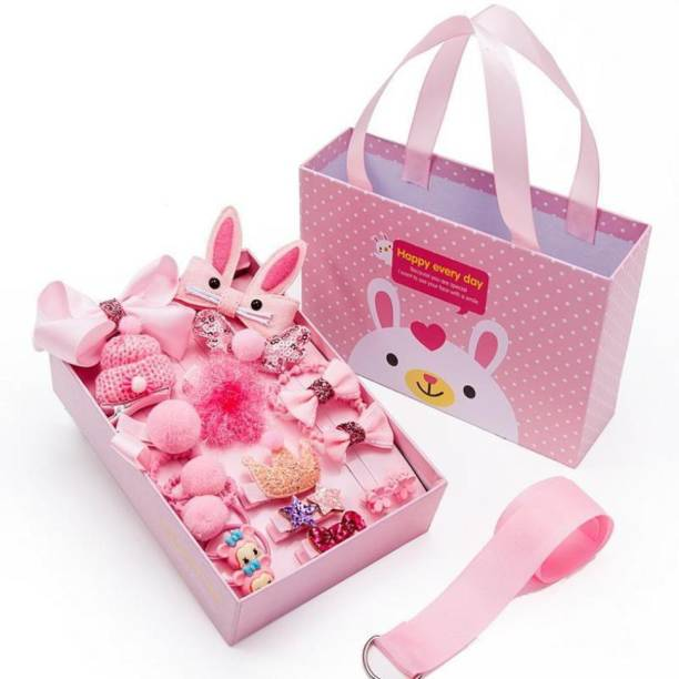 TRY 18 PCS BABY GIRL HAIR CLIPS SET |CUTE GIFT BOX | BABY PINK COLOUR| HAIR ACCESSORIES|9 HAIR ALLIGATOR CLIPS 2 CLUTCHES 6 RUBBER BANDS 1 HAIR CLIPS ORGANISER Hair Accessory Set