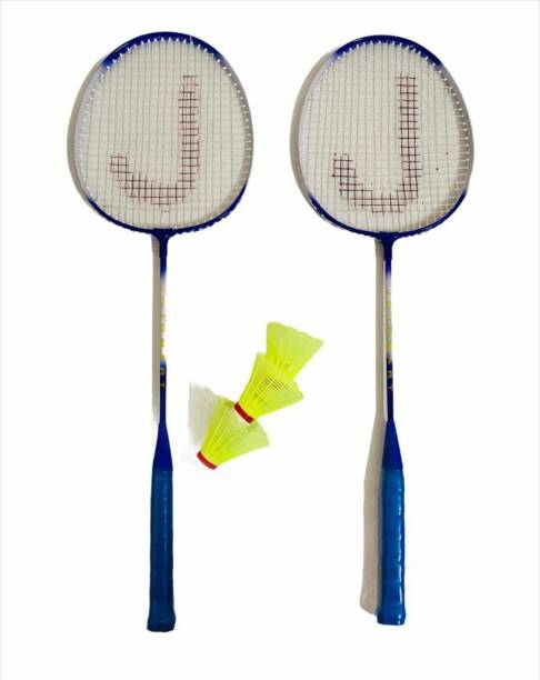 JOJOMART Badminton Set Of 2 Piece Racquet with 3 Piece Plastic Shuttle Single Shaft (BLUE) Badminton Kit