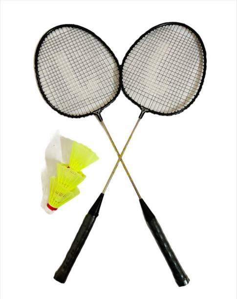 JOJOMART Badminton Set Of 2 Piece Racquet with 3 Piece Plastic Shuttle Single Shaft (BLACK NICKLE) Badminton Kit