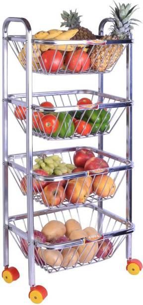 Patelraj Fruit Trolley Stainless Steel Kitchen Trolley
