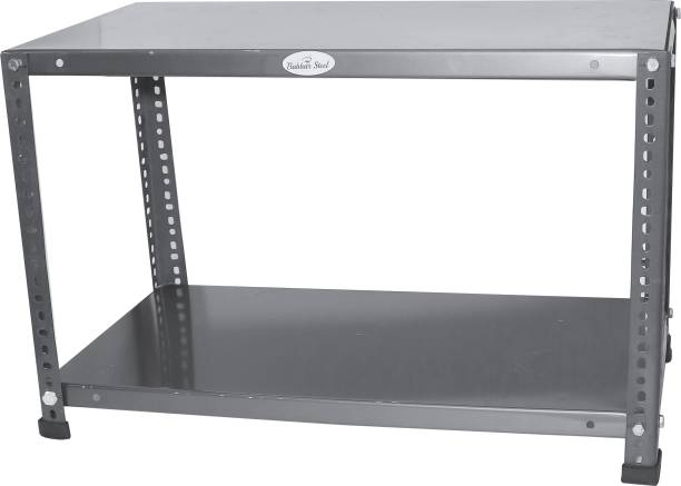 Babbar steel Prime CRC Sheet 2 Shelf-Multipurpose Slotted Angle Rack (30inch*12inch*20inch)-22 Gauge COLOR-STEEL BLACK Luggage Rack Luggage Rack