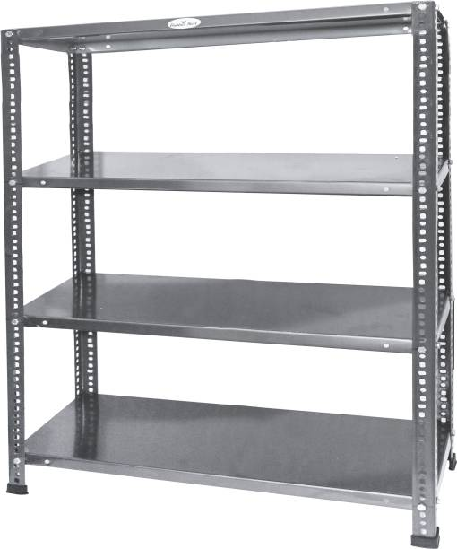 Babbar steel Prime CRC Sheet - 4 Shelf Multipurpose Slotted Angle Rack (30 inch812 inch*39 inch) 22 Gauge (COLOR-STEEL BLACK) Luggage Rack