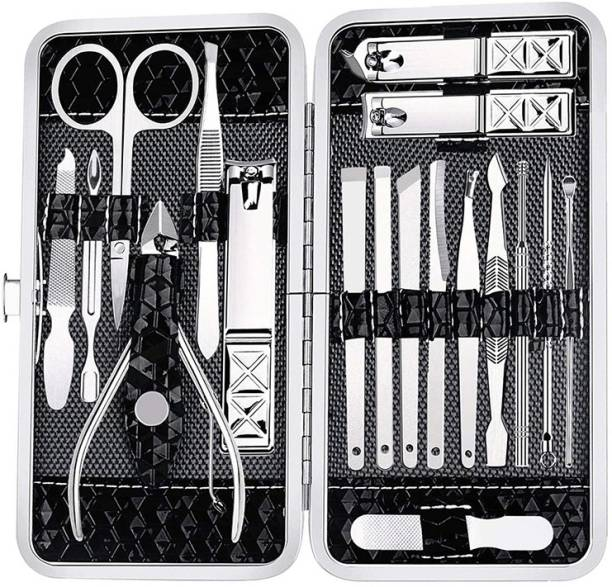 BELLA HARARO 18 in 1 Stainless Steel Manicure Pedicure Set Nail Cutter Scissors Care Set Tweezers Knife Ear Pick Eyebrow Scissors Utility Tools Grooming Kits with Leather Case