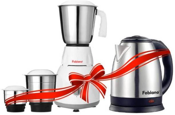 Fabiano 500W Mixer Grinder (White & Grey, 3 Jars) & 1.8L Electric Kettle (Silver)