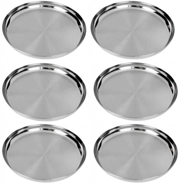 LIMETRO STEEL Stainless Steel Pack of 6 Heavy Gauge Dinner Plates / Lunch Plates / Bhojan Thali Dinner Plate Dinner Plate