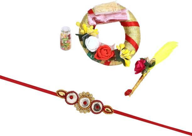 KanikaKreation Rakhi, Chawal Roli Pack, Thali  Set