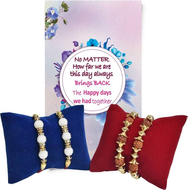 Chandrika Pearls Rudraksh Rakhi  Set