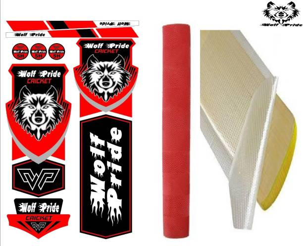 WOLF PRIDE Combo Cricket Red Blue Sticker, Grip, Anti Scuff Bat Sticker