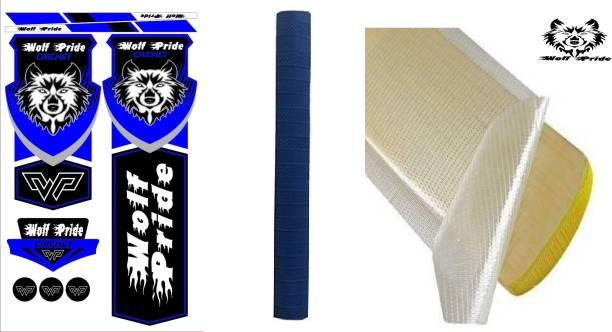 WOLF PRIDE Combo Blue Cricket Bat Sticker, Grip, Anti Scuff Bat Sticker