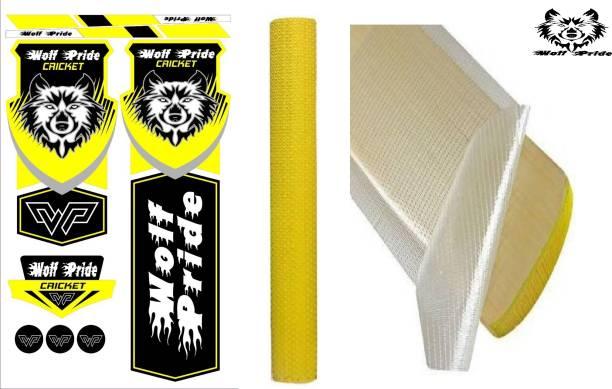 WOLF PRIDE Combo Yellow Cricket Bat Sticker, Grip, Anti Scuff Bat Sticker