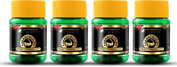 Dr. Vaidya's Herbobuild -Ayurvedic Capsules for Muscle Gain Pack of 4
