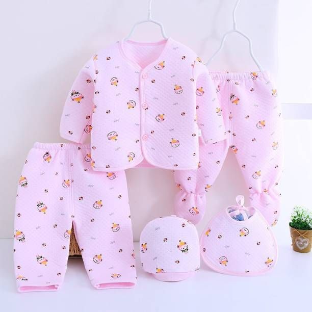 TINY LOOKS Presents New Born Baby Winter Wear Keep warm Cartoon Printing Baby Clothes 5Pcs Sets Cotton Baby Boys Girls Unisex Baby Fleece / Falalen Suit Infant Clothes First Gift For New Baby