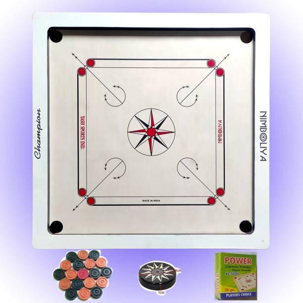 NIMBOLIYA CHAMPION 33*33 White with coin, striker & powder 85 cm Carrom Board