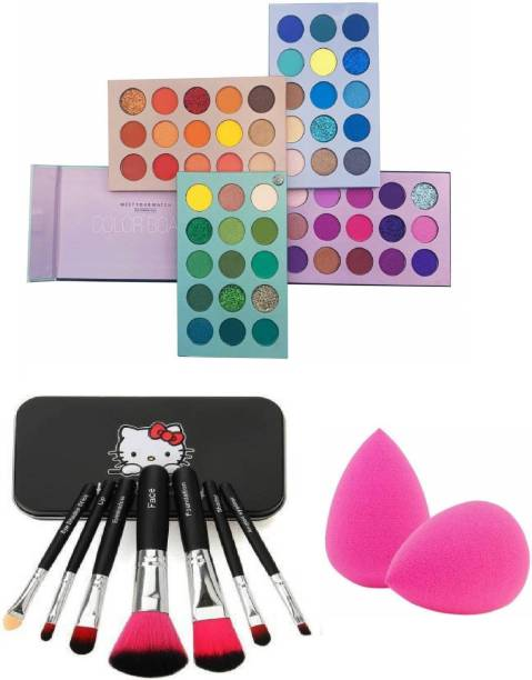 SHAGGY A Colorful Matte Afterglow Beauty Glazed Color Board High Pigmentation 70 Colors Eyeshadow Palette (Compact Powder,Blusher & Lip Gloss) With Set of 7 Black Professional Makeup brushes with Storage box and Beauty Blender Puff combo